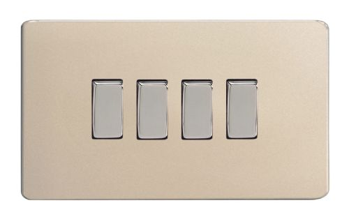 Varilight XDN9S Screwless Satin Chrome 4 Gang 10A 1 or 2 Way Rocker Light Switch